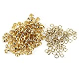 FTVOGUE 100pcs 5mm Antique Brass Eyelet Grommets Leather Craft Fasteners Kit with Washers for Repairs Decoration(Gold)
