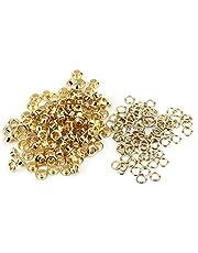 HEEPDD Set van 100 stuks oogjes, 5 mm goud, zilver, effen, oogjes en sluitringen, oogjes, handwerk, klinknagels, handwerk, doek, reparatie, decoratieve accessoires voor veters (goud)