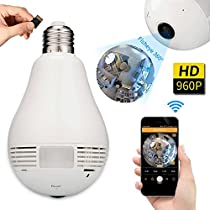 ALTech 360 Degree Panoramic 960P Wifi Camera Light Bulb Mini Security IP Camera with Ultra HD Lens Night Vision, 2-Way Audio, Remote Access