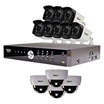 REVO America Aero HD 1080p 16 Ch. Video Security System with 12 Indoor/Outdoor Cameras, White/Black (RA161D4GB8G-2T)