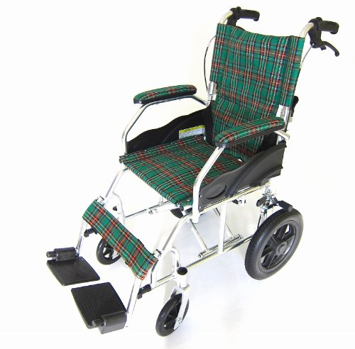 【クラウド】【マドラスグリーンチェック】 約10.5Kgの介助式車椅子 【スーパー軽量】【コンパクト】【車椅子】【介助式 介助用】【ノーパンクタイヤ】【アルミ】【折り畳み】【背折れ】【脚部エレべーティング】【介助ブレーキ付き】【車いす】 A604-AC B009Z6244U