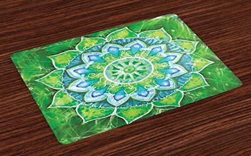(Ambesonne Mandala Place Mats Set of 4, Grand Mandala with Leaf Forms Symbol of Nature and Zen Theme Green Boho Style Print, Washable Fabric Placemats for Dining Room Kitchen Table Decor, Green Blue )