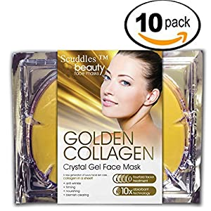 Gold Collagen Skin Facial Mask - 10 Pcs 24k Gold Facial Mask Moisturizer Hydrating Face Patches Anti Aging Acne Dry Skin Protection , Rejuvenate Your Skin By Scuddles 10 Packs (SCMSK11)