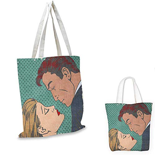 Kiss canvas messenger bag Man and Woman About to Kiss Pop Art Comics Retro Style Halftone Grunge canvas beach bag Blue Grey Turquoise Cream. 12