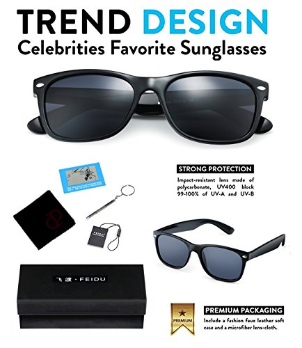 a4a23e45d7 FEIDU Retro Polarized Clubmaster Sunglasses for Men Half Metal Women  FD3030Black Green(2pack)