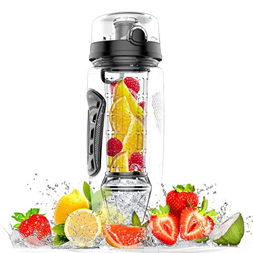 amzdeal Fruit Infuser Water Bottle - 1L / 32 Oz Sports Water Bottle BPA Free with Infusion Rod and Freezer Ice Ball Leak Proof and Non-Slip Design for Outdoor School ()