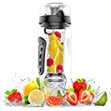 amzdeal Fruit Infuser Water Bottle - 1L / 32 Oz Sports Water Bottle BPA Free with Infusion Rod and Freezer Ice Ball Leak Proof and Non-Slip Design for Outdoor School Office - Black