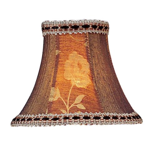 Livex Lighting S140 Bell Clip Chandelier Shade with Fancy Trim, Burgundy Floral Panel