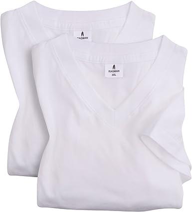 Ragman XXL Camiseta básica blanca con escote de pico