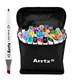 Arrtx Double-Ended Art Markers Set, 36 Colors Marker Pens with Fine and Broad