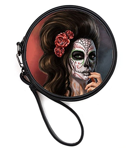 Sugar Cosmetis of Round Round Case the Makeup Day Makeup Leather Bags10 Skull Fashion Female Bag Print Sugar Dead q6xn1X8Zw