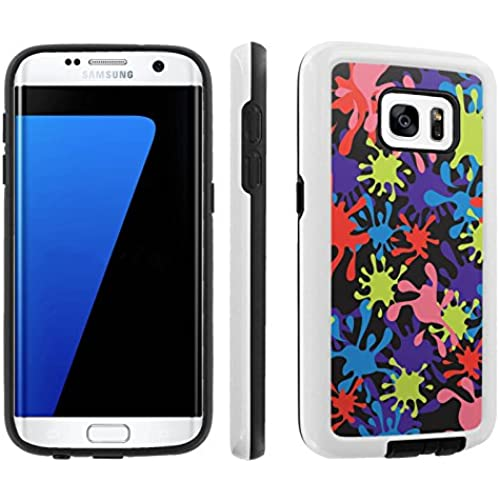 [Galaxy S7] [5.1 Screen] Armor Case [Skinguardz] [White/Black] Shock Absorbent Hybrid - [Black Colorful Splash Sales