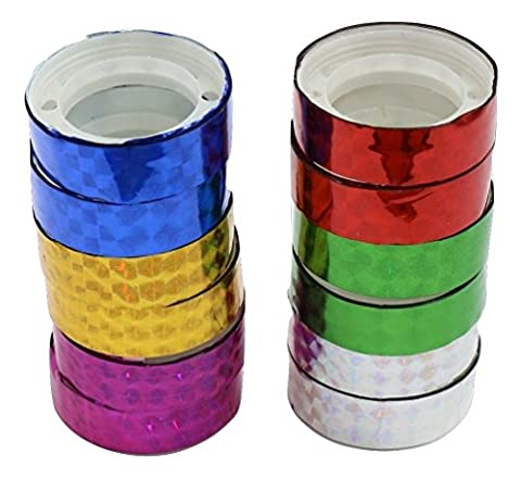 Hula Hoop Washi Prism Tape (12 Pack) 11MM x 100cm - 6 Holographic Colors