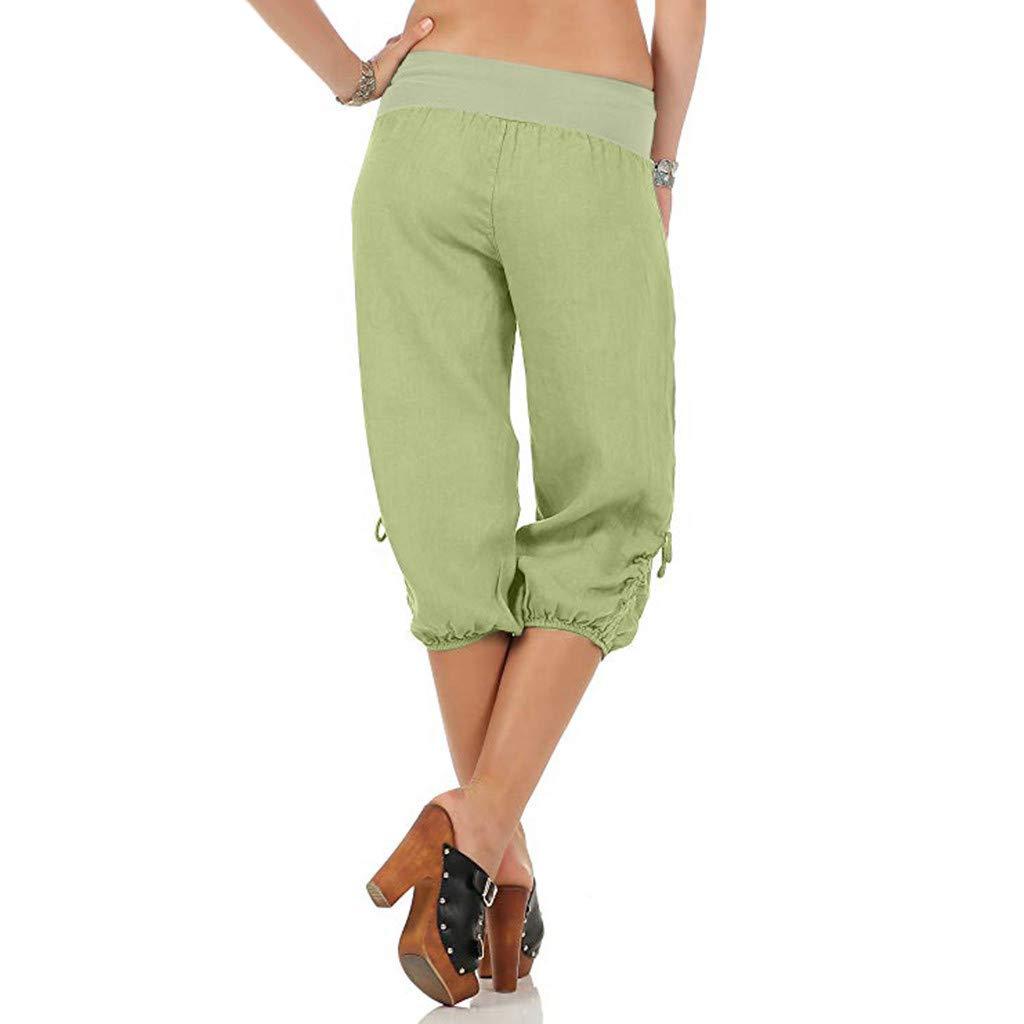 Pantalones de Yoga para Mujer, Talla Grande Mujer Suave Verano Pantalones de Fitness Deportivos Elásticos Pantalón para Danza Yoga Pantalones de Yoga ...