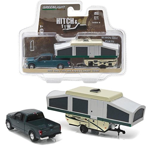 Car Green Model - New 1:64 HITCH & TOW SERIES 8 - GREEN 2015 FORD F-150 WITH POP-UP CAMPER TRAILER Diecast Model Car By Greenlight