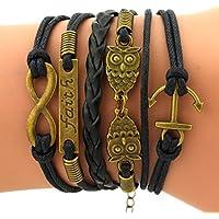 Time Pawnshop Retro Bronze Cute Owl Anchors Faith Charm Adjustable Braided Leather Bracelet