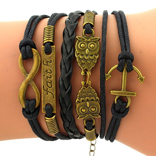 Time Pawnshop Retro Bronze Cute Owl Anchors Faith Charm Adjustable Braided Leather Bracelet (Save The Animals Merchandise compare prices)