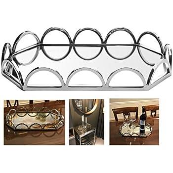 Amazon Com Elegant Mirrored Rectangular Silver Tray With