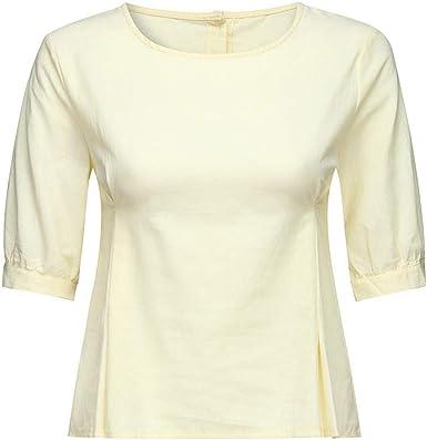 VEMOW Camisetas Mujer Tops Camisetas O Cuello Media Manga Casual Algodón Lino Camiseta Holgada Blusa: Amazon.es: Ropa y accesorios