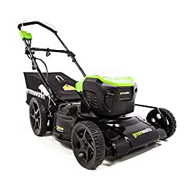 Greenworks Brushless Cordless Mower 100 Includes (2) 2.5 AH - 40V Lithium Batteries Durable 21'' Steel Deck lets you Mulch, Bag, or Side Discharge allowing you to maintain your yard the way you want it Our dual battery port design enables one battery to be stored while the other fuels the mower for uninterrupted cutting; saving a you a trip to the garage