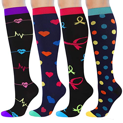 Womens Compression Socks Knee High Compression Stockings Fashion Support Socks for Travel, Running, Nurse, Maternity, Pregnant Women, Recovery, L/XL, 4 Pack, 15-20 mmHg