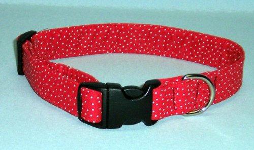 Country Brook Design Red Polka Dots Designer Dog Collar-M