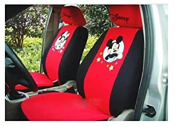 New Arrival 10pcs Mickey Minnie Mouse Auto Car Cushion Red Black Front Saddle