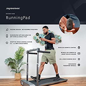 Dynamax RunningPad – Black Compact Running Walking Treadmill with Foldable Handrail & LED Console for Speed, Time, Distance Mini Quiet Treadmill with Workout App for Home/Office