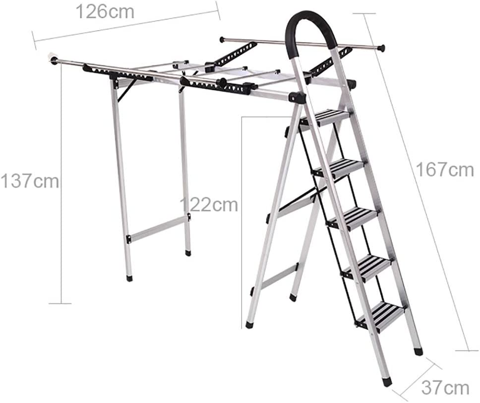 Escalera Telescópica Escalera multifunción de secado Rack Escalera de espiga de doble uso Escalera de secado interior plegable Espesar Aleación de aluminio Escalera de 5 escalones H122CM (color : C) : Amazon.es: Hogar