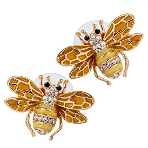 YACQ Honey Bee Stud Earrings Crystal Costume Jewelry for Women Teen Girls