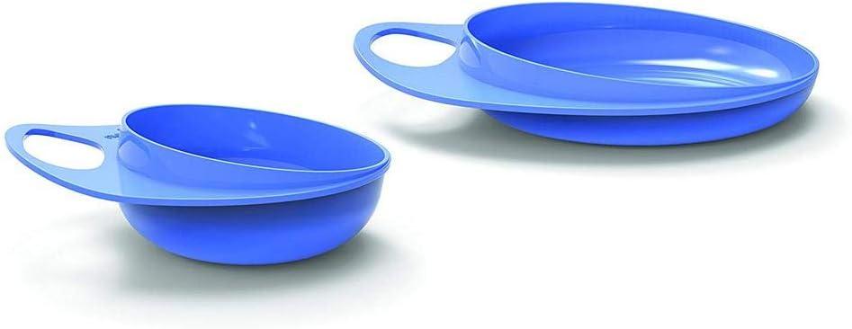 Set Alimentos Set de Comida Unisex Set para Destete Vajilla bebe para las Primeras Comidas Plato y Cuencos para Bebe Nuvita 8461 EasyEating Ultra Higi/énico Azul Dise/ño Italiano