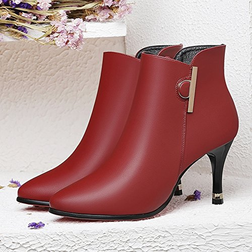 Heeled Fine Boots EUR34 Leather High red Plus Sexy with Shoes wine Boots Shoes Leather Martin Boots pwqPpxr
