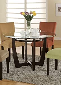Amazon.com - Bloomfield Round Glass Top Dining Table by Coaster ...
