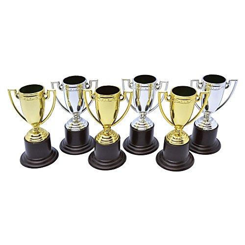 Bristol Novelty GJ444 Winner Trophies Party Accessory Set, Unisex-Adult, Silver/Gold/Black, One Size -