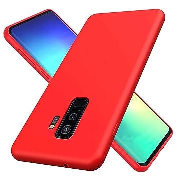 HUOTAI Funda para Samsung Galaxy S9 Plus Líquido de Silicona Carcasa Anti-Huella Digital Suave Almohadilla Forro Tela Microfibra, Silicona Gel Caso ...