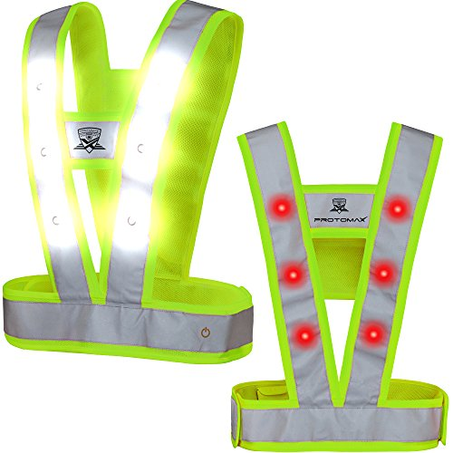 Reflective Flashing Led (PROTOMAX LED Vest CAVOK, Reflective Flashing LED warning vest, 36 LED Warning Lights (white front | red back) (Yellow, Large))