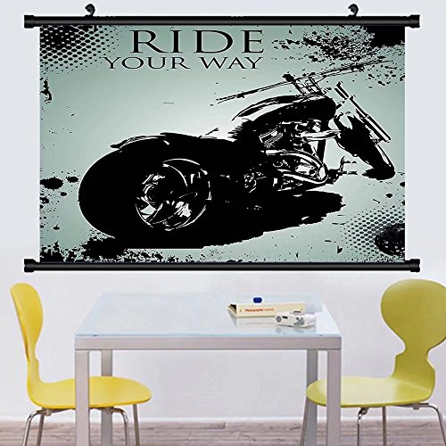 Gzhihine Wall Scroll Vintage Retro Motorcycle Nostalgic Scoo