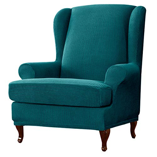 subrtex 2-Pieces Spandex Elastic Arm Chairs Wingback Chair Cover Waffle Fabric Wing Back Furniture Protector Stretch Sofa Slipcovers for Living Room(Blue)