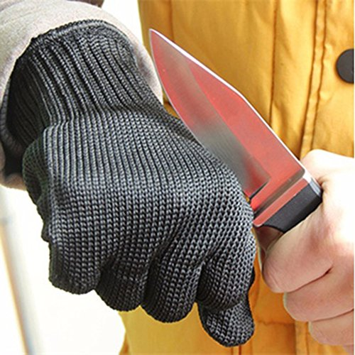 Cut-Resistant Safety Gloves Stainless Steel Wire Anti-Cutting Safety Protective Gloves (Black)
