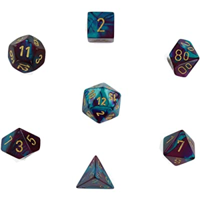 Chessex Manufacturing Cube Gemini Set Of 7 Dice - Purple & Teal With Gold Numbering CHX-26449: Toys & Games