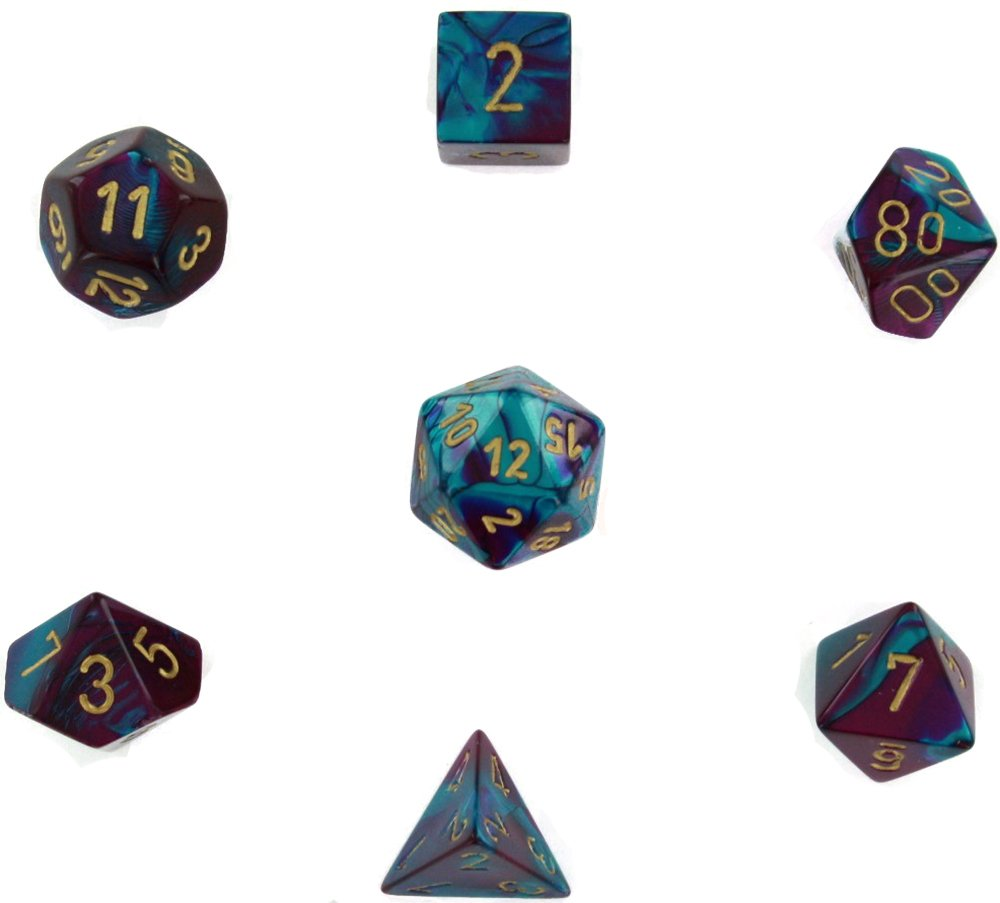 Chessex Manufacturing Cube Gemini Set Of 7 Dice Purple /& Teal With Gold Numbering CHX-26449 07933000880 CHX 26449