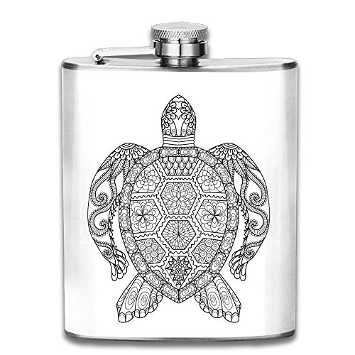 (FTRGRAFE Ethnic Pattern Sketch Turtle Outdoor Portable 304 Stainless Steel Leak-Proof Alcohol Whiskey Liquor Wine 7OZ Pot Hip Flask Travel Camping Flagon For Man Woman Flask Great Little Gift)