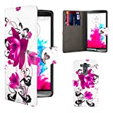 32nd® Design book wallet PU leather case cover for LG G3 (D855), including screen protector and cloth - Purple Rose
