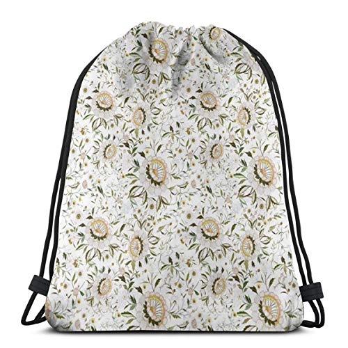 - Blush Floral Flowers Green Yellow Fall Zinnia Fall Foliage_7601 Drawstring Backpack Gym Spacious Pull String Backpack for Sport School Traveling Gym Basketball Yoga 13x18 inch13x18 inch