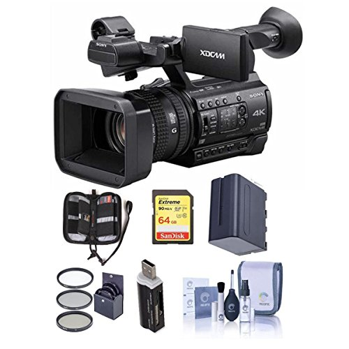 Sony PXW-Z150 Compact 4K Handheld XDCAM Professional Camcorder, 12x Optical Zoom - Bundle With 64GB U3 SDHC Card, Spare Battery, 62mm Filter Kit, Cleaning Kit, Card Reader, Memory Wallet by Sony