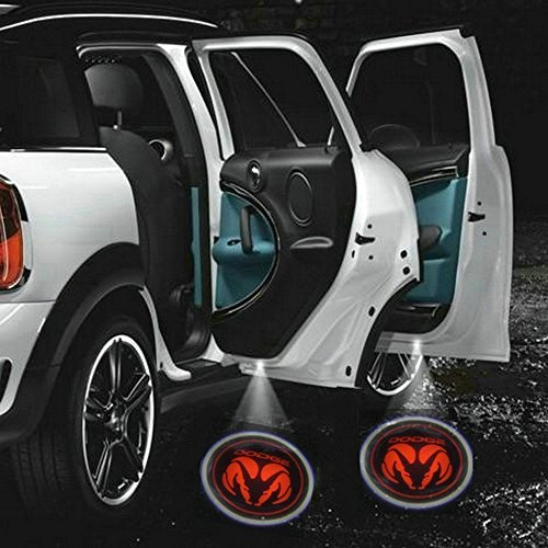 2pc Wireless Drill Free Easy Install Car Door LED Projector Courtesy Welcome Logo Ghost Shadow Light Magnet Sensor for Eagle American Flag Infiniti Cadillac Dodge Jeep (Dodge)