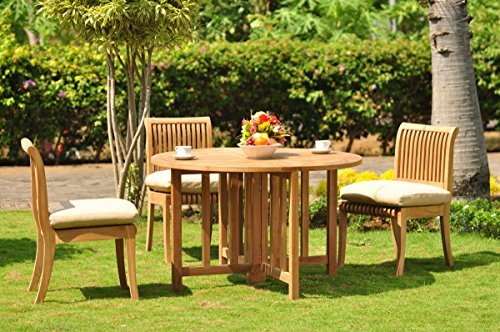 TeakStation 3 Seater 4 Pc Grade-A Teak Wood Dining Set: 48