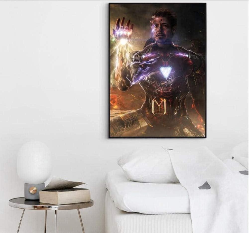 con Cornice 50X70cm MTNLYD Stampe e Quadri su Tela 1 Pezzi Avengers Endgame Iron Man Infinity Gauntlet Movie Poster Wall Art Home Decor
