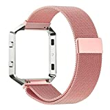 DDLBiz Milanese Magnetic Stainless Steel Watch Band + Metal Frame for Fitbit Blaze (Pink )