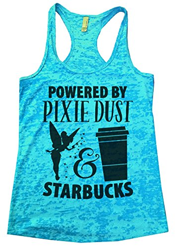 (Women's Funny Disney Burnout Powered by Pixie Dust and Starbucks Tinkerbell Tank Top Large, Blue)